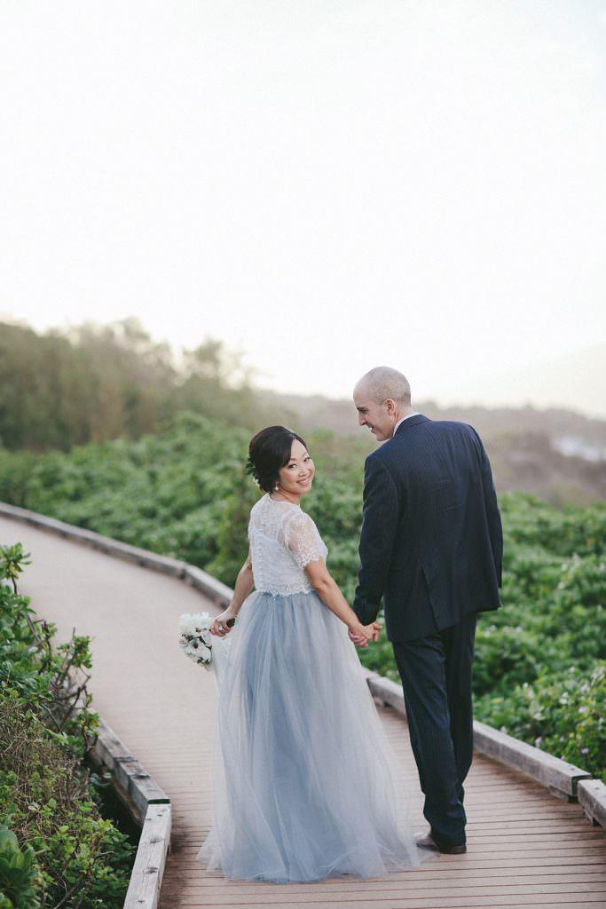 blue wedding dress for Hawaii bride www.melialucida.com #maui #bride #blue #dress
