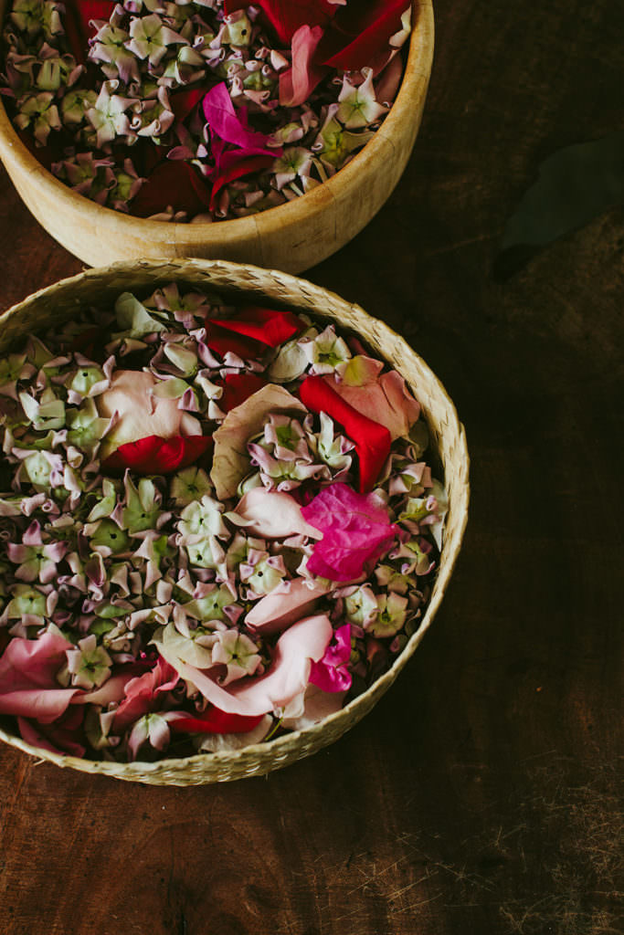 baskets of flower petals at a wedding in Hawaii