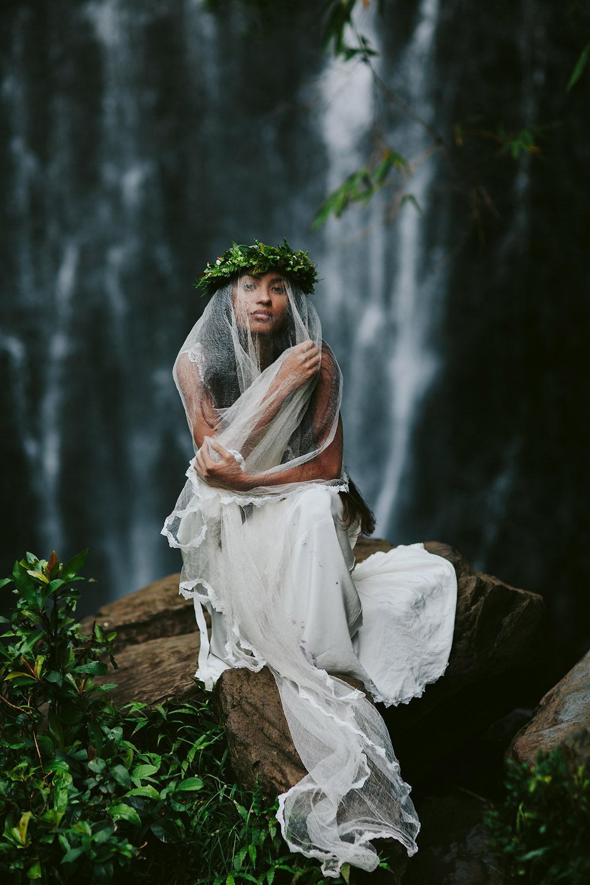 a Hawaiian bride at a Maui waterfall in Hana