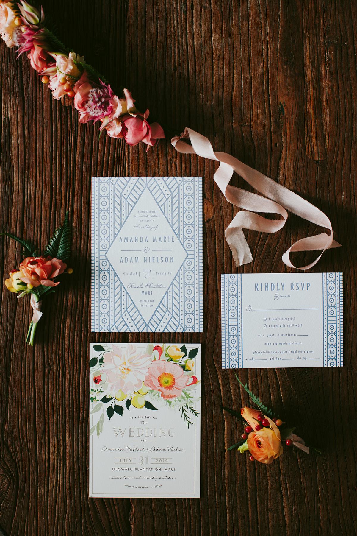 batik stationery for a Maui wedding